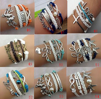 Wholesale 30 off style Angel wings pearl bracelet Bird branches infinity owls leather bracelet Multilayer Charm Bracelet Cheap FX