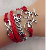 Wholesale 30 off style Ancient silver LOVE infinity bike red leather bracelet Multilayer Charm Bracelet Cheap FX