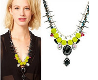 faceted glass stones - fashion big brand Exaggerated green pompon faceted Glass Crystal premium flocked gem stone Necklace for women