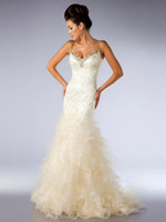 Wholesale Fast Delivery Ivory Meimaid Trumpet V Neck Beading Tiered Tulle Net Formal Evening Wear