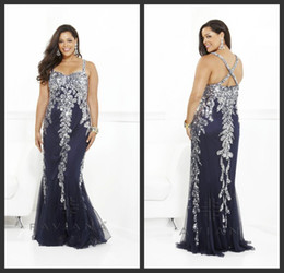 Wholesale 2014 New Luxurious Stunning Sexy Spaghetti Crystal Beaded Chiffion Plus Size Prom Evening Gowns Prom Evening Dresses