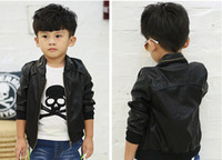 Boy Spring / Autumn Faux Leather Children Clothing Pure Black Best Quality Fashion Boys Casual Leather