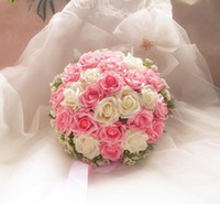 Wholesale 30cm Artificial Rose Cascading Bridal Bouquet White Pink Wedding Flower