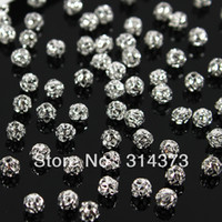 beads nail decor - 1 pack Silver Tone Bling MM Round Ball Planet Spacer Loose Hollow Beads Jewelry Findings Craft D Metal Alloy Nail Art Decor