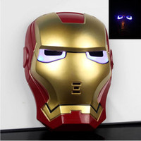 Wholesale Glow In The Dark LED Iron Man Spider Man Mask Movie Guy Mask for Halloween Cosplay party Costume Theater Prop