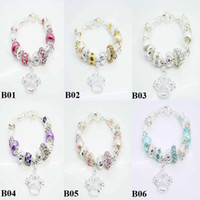 Unisex Crystal beads Chirstmas Fashion European Style 925 silver Lovely Glass Beads Fit Pandora Charms Beads Bracelet