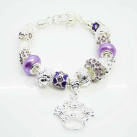 Wholesale Fashion Silver jewelry Purple Glass Beads Fit Charms Pandora Pendant Heart Clasp Bracelet For Gift