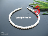 Band Faux Pearl  Wholesale - Simple Artificial Pearl Headband Hair clip bridal Barrette Flower Girl's Tiara Black White