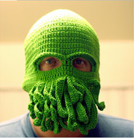 Wholesale Cthulhu wool HAT mask ski squid octopus green cap tentacles sea monster reddit