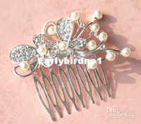 Clip & Pin Faux Pearl  Wholesale - Rhinestone butterfly Bridal hair clip with pearl Alloy Wedding barrette Flower girl's Hair Accessories
