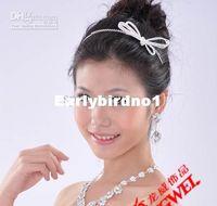 Wholesale Rhinestone plated alloy Bowknot Hair clip Barrette Tiara For bridal wedding party Headband