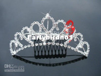 Crown Rhinestone/Crystal  Wholesale - Rhinestone flower girl's crown plated alloy Wedding Hair clip Barrette Bridal Tiara