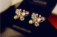 Wholesale 12 Pairs White Pearl Crystal Butterfly Hollow diamond Stud Wedding beaded Earrings