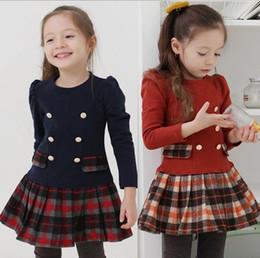 2016 new autumn models girls tartan plaid long-sleeved dress Children's skirt 5pcs lot