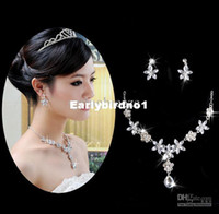 Alloy Rhinestone Sets Wholesale - Artificial Diamond flower Bridal Pendant Necklace Earring Ear Pendant Wedding Jewelry Set 02