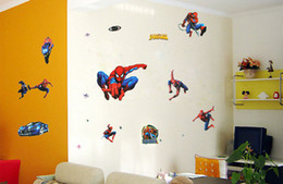 The cheapest PVC Cartoon Spiderman Wall Sticker Wall Mural for kids room Home Decoration free shipping