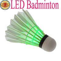 Wholesale Dark Night Colorful LED White Badminton Feather Shuttlecocks Birdies Sports goods