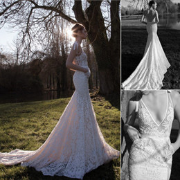 New Sexy Lace Inbal Dror Wedding Dresses White Deep V Neck Sleeveless Mermaid Backless Chapel Train Lace Bridal Gowns Hot Sale Customed 2019