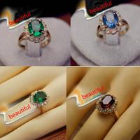 Wholesale Elegant square Simulated emerald Gemstone wedding Ring k gold plated finger rings fashion women wedding gold filled jewelry NO