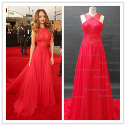 Wholesale 55th Grammy Rihanna Red Carpet A line Halter Criss Cross Chapel Train Chiffon Celebrity Dresses Get One Pearl Neckline for Free