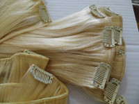 Wholesale 70g quot g quot g quot Remy human clip in hair extensions blonde STOCK