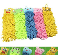 Wholesale Free ship Microfiber cartoon Hanging towel Cute animal cleaning towel children gift kids prize HG142