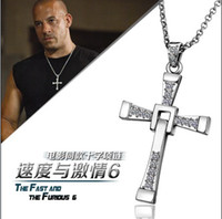 Wholesale Fast and Furious Dominique Cross Pendant Necklace K gold plated rhinestone crystal chain CM fashion jewelry