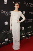 Wholesale 2014 Custom Made New York Fashion Week Hot Elegant Charming Crew Full Sleeve Straight Floor Length Lace white Prom Gowns Evening Dress i30