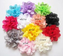 Chiffon Flowers For Baby Headbands Girls Corsage Flower Hair Accessories Handmade Chiffon Mesh Flowers DIY Photography props wholesale 60pcs