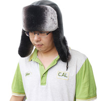 Wholesale Genuine rex rabbit fur real sheep leather Ushanka hat cap warm for winter