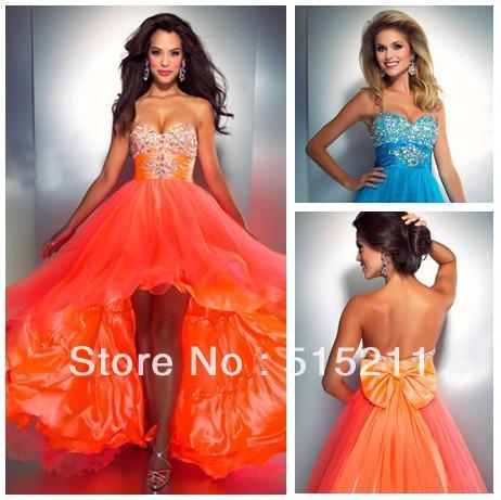 New Fashion 2014 High Low Style Beaded Sweetheart Orange Turquoise ...