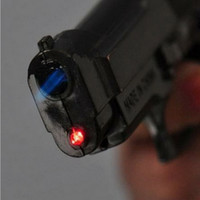 Wholesale Cool Gun Pistol Style Zinc Alloy Windproof Butane Jet Torch Lighter w Red Laser Dark Silver Grey