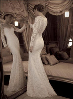 New Mermaid Wedding Dress Sexy Long Sleeves Sheer Lace Brida...