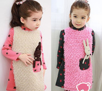 Wholesale Girl Fleece Rabbit Dress Child Velvet Star Pattern Bunny Pocket Clothing Kid Thicken Warm Cotton Long Sleeve Clothes Pink Black D0168