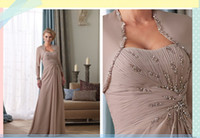 Wholesale 2013 New arrival Custom Made Quality Charming Modest Strapless Khaki Chiffon Mother of the Bride Dresses with Beads and free Jacket h4