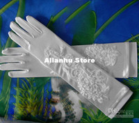 Wholesale Beautiful Long Bridal Glove Wedding Gloves also for evening prom glove Satin with beaded Lace