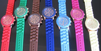 Wholesale Geneva Shadow style Watch Jelly Watch Silicone Strap Candy Colors Watch