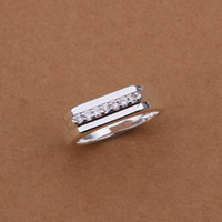Wholesale Hot Sell Sterling silver ring silver fashion jewelry ring middle section inlaid stone smooth Rings SMTR233