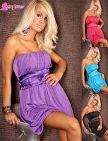 Mini Dresses sexy nighty wear - 4 colors Plus size M XXL Women sexy strapless dress lingerie Beauty Night KTV club wear Sexy nighty wear outfits Blue red purple black MN89