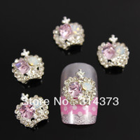 Black art metal products - 100PCS X12MM Bling Lavender Color Rhinestones Crown D Alloy Metal Silver Nail Art Tips Cover Case Decorations Product