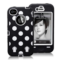 Polka Dot PC+ Silicone shock dirty proof Defender case for Ip...
