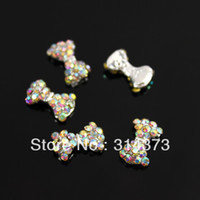 ab cases - 100pcs X10MM Charm Shiny Crystal AB Rhinestones Bow Tie Bowtie D Scrapbooking Craft Cover Case Nail Art Decor Accessories
