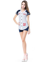 baseball sporty - Cosplay Sexy Sports Costumes For Women Baseball Player Costume Set Grand Slam Dress Short Sleeve With Panty H39153