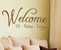 Wholesale 5pcs Wall Sticker Decal Quote Vinyl Art Adhesive Graphic Welcome Sit Relax Enjoy