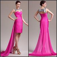 Wholesale 2015 New Arrive Crew Neck Unique Beading Fuchsia Sheath Chiffon Charming Short Prom Homecoming Dress AB816