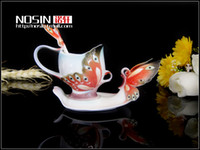 Wholesale new bone china mug Porcelain enamel mugs Butterfly enamel saucer coffee mug enamel coffee cup couple cup and saucer tea sets