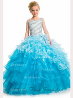 Spaghetti Beads Organza 2014 New Arrival Blue Square Neck Beaded Crystals Girl's pageant gown Flower dresses with Organza Ball Gown PA 1525