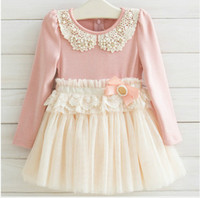 Spring / Autumn A-Line Knee-Length Guangdong Best Quality Fall Children Dress Korean Pearl Pure Cotton Net Yarn Girls Lace Dress 3-7Year Kids Clothing QZ61