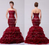 red red wine - 2014 Graceful Sexy Wine Red Mermaid Pageant Dresses Strapless Sleeveless Ruched Ruffles Backless Floor Length Organza Prom Dresses