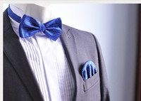 Wholesale men bowtie and hanky set bow tie handkerchief pocket square
